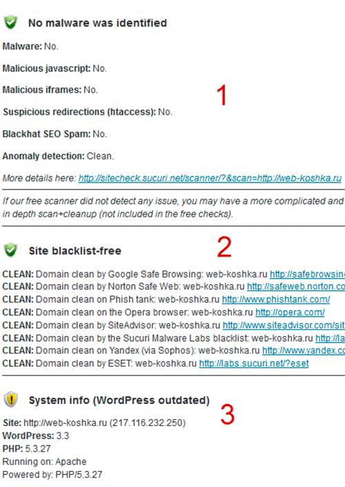 результаты проверки сайта на вирусы
